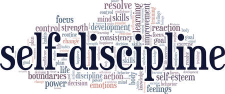 Self-Discipline vector illustration word cloud isolated on a white background. Vecteurs
