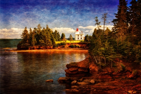 Lighthouse against red soil bank, silk screen effect Stock Photo - 17486380