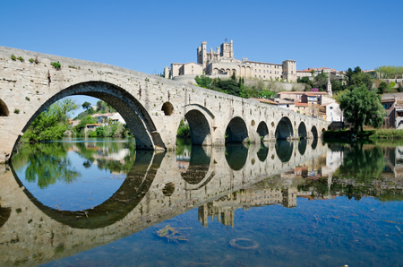 cathedrale: View towards the Cathedrale Saint Nazaire from The Pont Vieux, Beziers Stock Photo