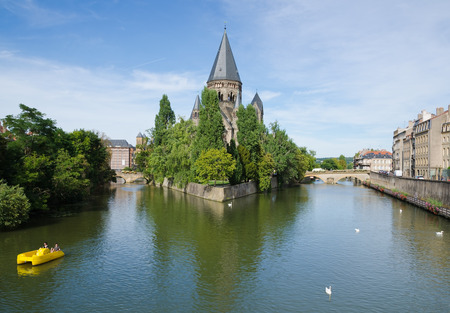 METZ, FRANCE. 2nd September 2016.  The Temple Neuf a neo-romanesque protestant reformed church, provides the historic city of Metz with a stunning centrepiece. The city celebrates its .Mirabelle plum festival every August.
