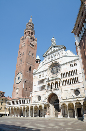 CREMONA, ITALY. 5th August 2017. Cremona cathedral and its famous bell tower - the Torrazzo - are important medieval monuments that draw many tourists to the Northern Italian city.