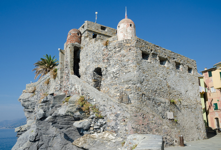 CAMOGLI, ITALY. 21st October 2018. The  thirteenth century Dragonara Castle provides tourists with a stunning view across the sea at Camogli.