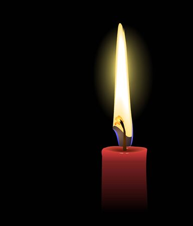 looking through an object: red candle - vector Illustration