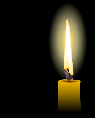 looking through an object: yellow candle - vector