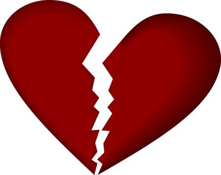 Corazón roto sobre fondo blanco. Vector.