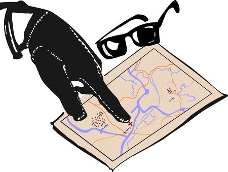 organized crime: Hand of mafia and map. Vector Illustration