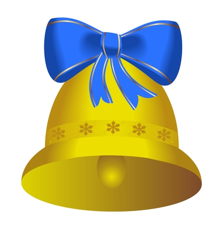 Golden christmas bell with blue bow - vector Vector