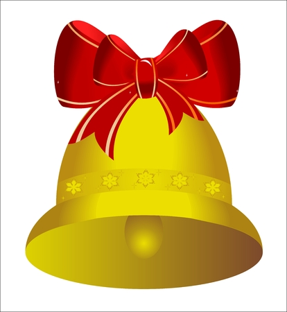 Two golden christmas bells with red bow - vector Vector