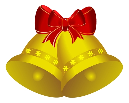 glance: Two golden christmas bells with red bow - vector