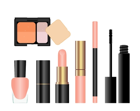 ceremonial makeup: Collection of female accessories of beauty. Vector