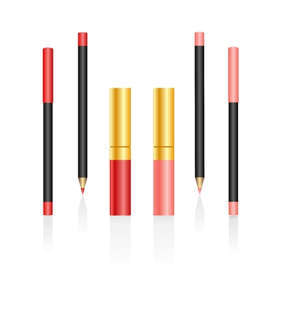 Lipsticks and pencils isolated on a white background. Vector Vector