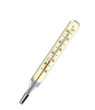 malady: Vector medical thermometer on the white isolated background