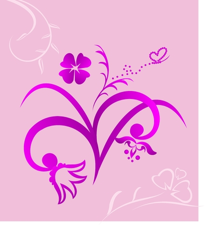 Cute pink flowers background - vector Stock Vector - 6209339