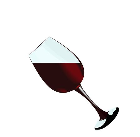 filling bottles: A glass of red wine of isolated on a white background. Vector