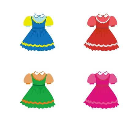 Set of children dresses. Vector Illustration