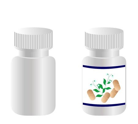 Two realistic bottles with tablets are isolated on white background.  Illustration