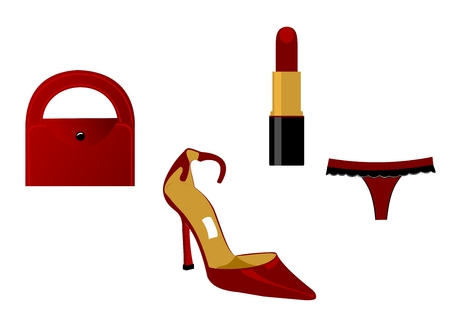 The main attributes of the woman of fashion. Vector