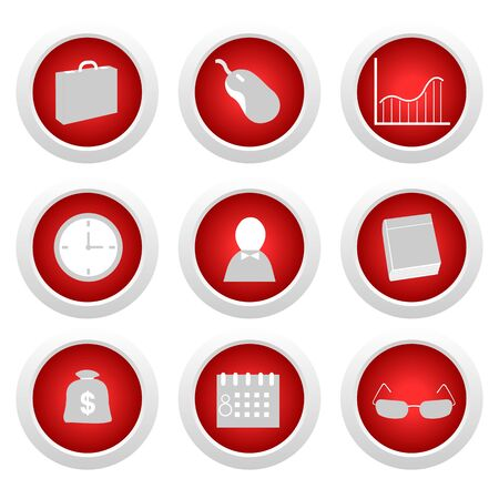Business red button set Vector