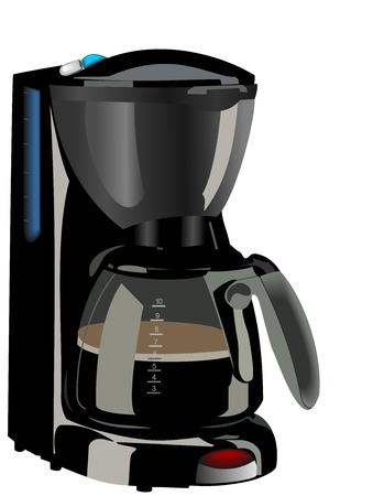 메이커: 커피 메이커의 현실적인 그림 일러스트