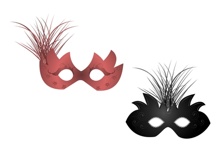 Realistic illustration of carnival or theater masks