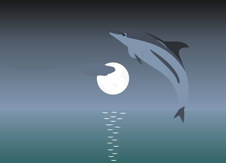 Illustration of a jumping dolphin over a moonlight Vector