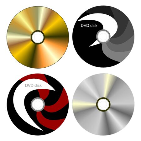 copying: Realistic illustration set DVD disk with both sides