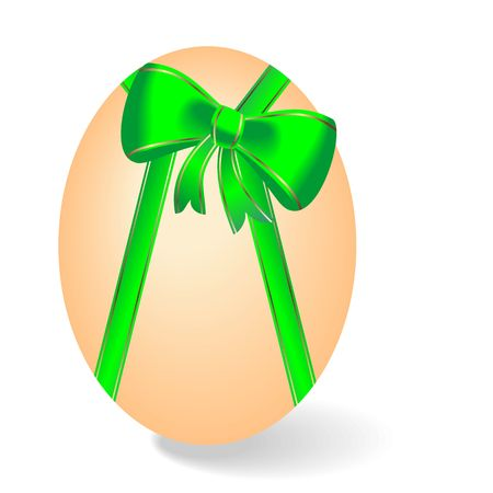 flabby: Realistic illustration by Easter egg with green bow Illustration