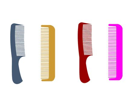 comb out: Different hairbrushes are isolated on white background.