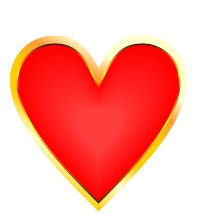 Golden red heart Vector