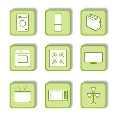 Green sticker with icon 9. Stock Vector - 6647531
