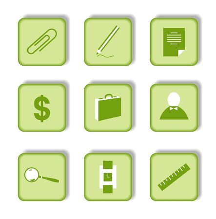 Green sticker with icon 9.  Vector