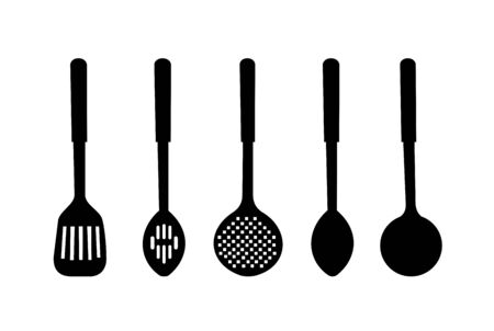 ladles: illustration silhouette of kitchen ware are isolated on white background