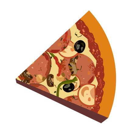 Realistic illustration pizza on white background Vector