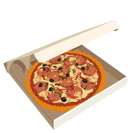 mozzarelle e formaggi: Figura realistica pizza nella casella Vettoriali
