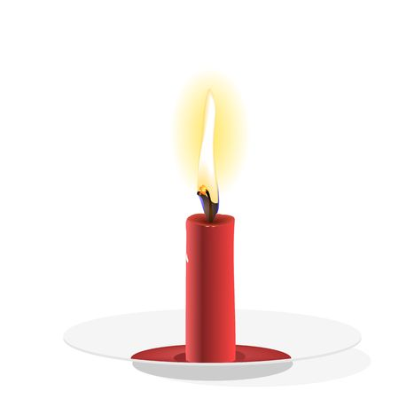 Realistic Candle on plate Vector