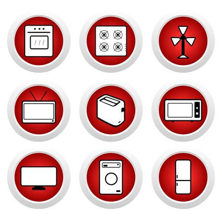 Red buttons with icon 9.  Vector