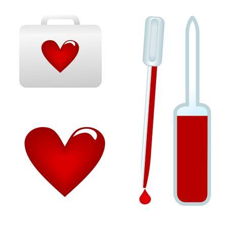 blood sample: medical test-tube with blood sample. Illustration