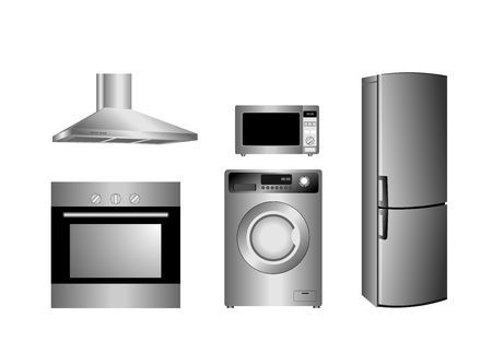 microwave ovens: detailed household appliances icons Illustration