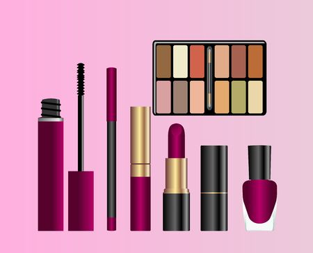 Collection of female accessories of beauty.