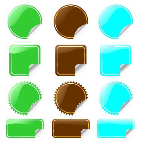 conjunto de etiquetas de brillantes en diversas formas.