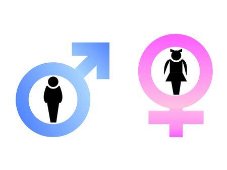 Männlich und weibliche Zeichen werden auf weißem hintergrund isoliert.  Lizenzfreie Bilder - 6647276