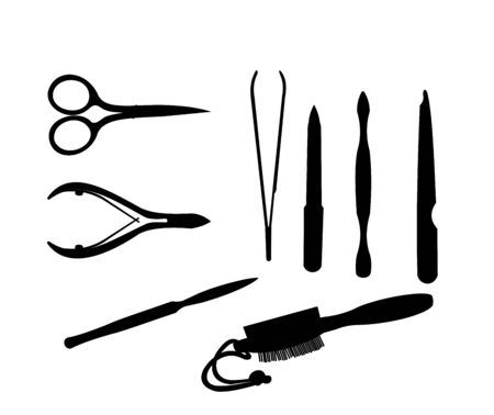 chiropody: Manicure and chiropody tools collection. Illustration