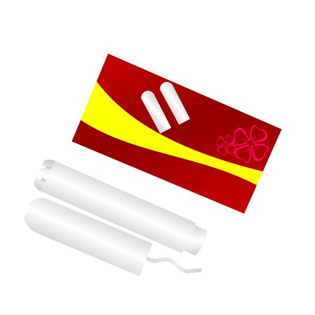 tampon: Realistic illustration  packing of tampons is isolated on white background.