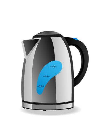 electric kettle:  Electric kettle is isolated on white background. Illustration