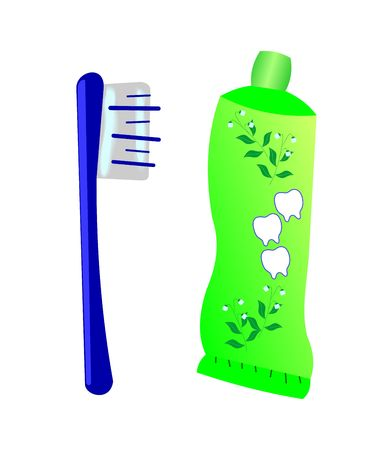 plastik: illustration of a toothbrush with toothpaste and tube Illustration