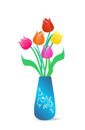 Abbildung beautiful Vase mit Tulpen ist auf weißem hintergrund isoliert.