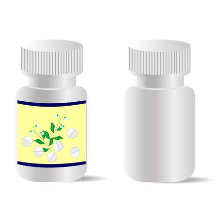 Due bottiglie realistiche con compresse sono isolate su sfondo bianco.