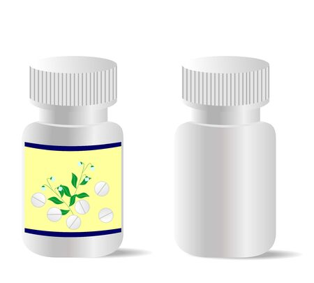 Two realistic bottles with tablets are isolated on white background.  Vector