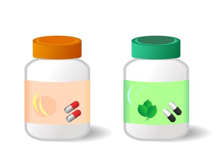 Two bottles with tablets are isolated on white background.  Vector