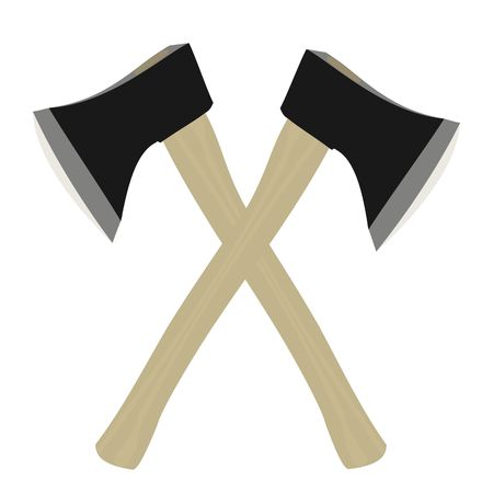 timber cutting: illustration of two axe are isolated on white background Illustration